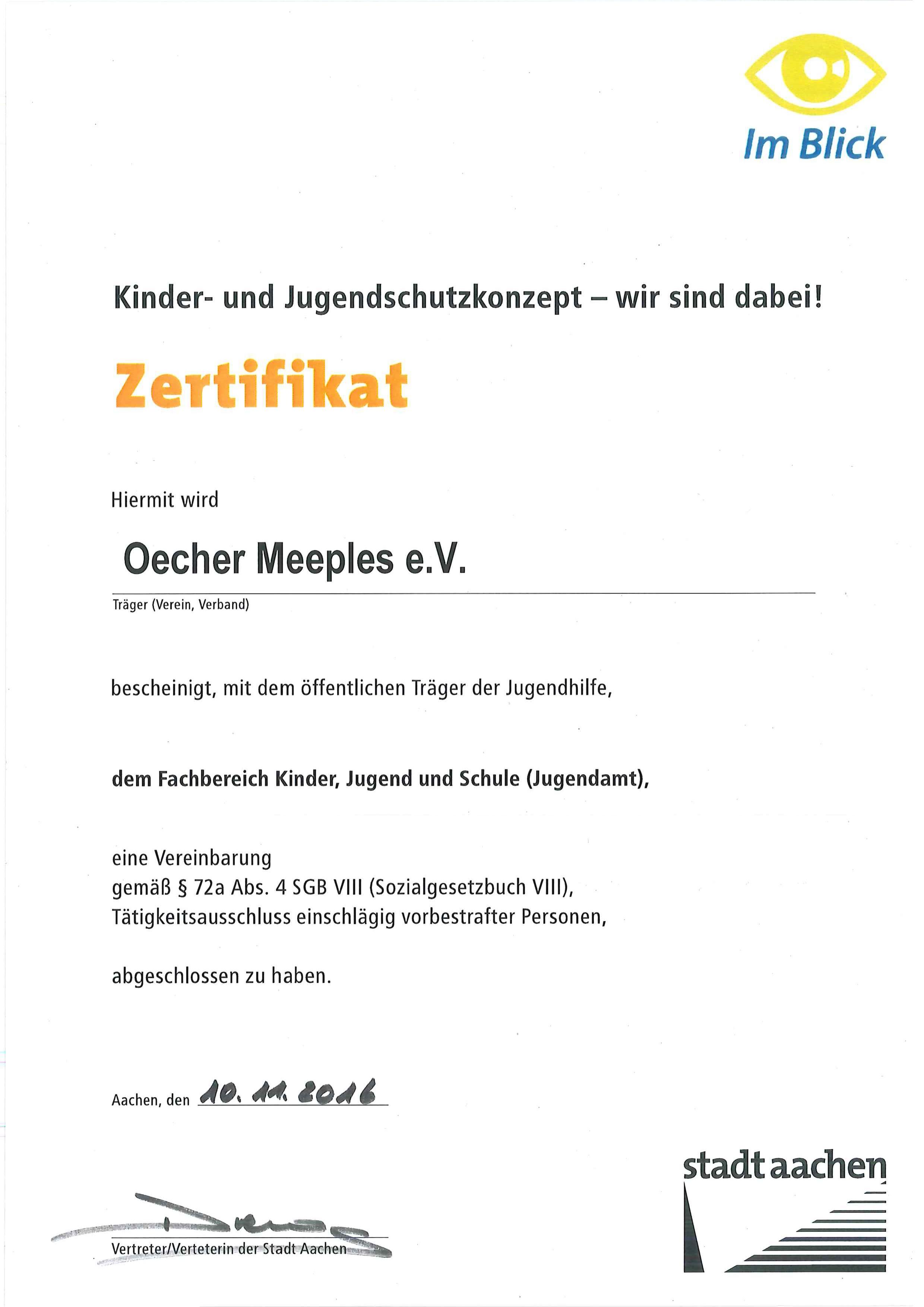 Zertifikat der Stadt Aachen